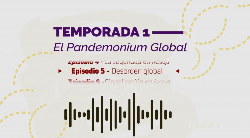Imagen ilustrativa del quinto episodio del podcast de las Relaciones Internacionales que muestra la idea gráfica de una onda sonora
